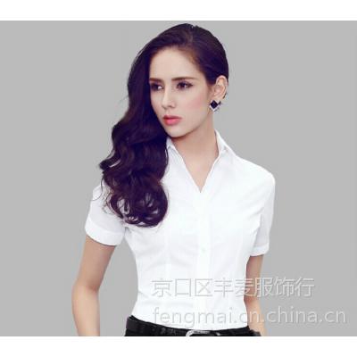 新款职业OL通勤女式衬衫V领白色短袖纯棉修身精品TRUMPMAN工作服批发