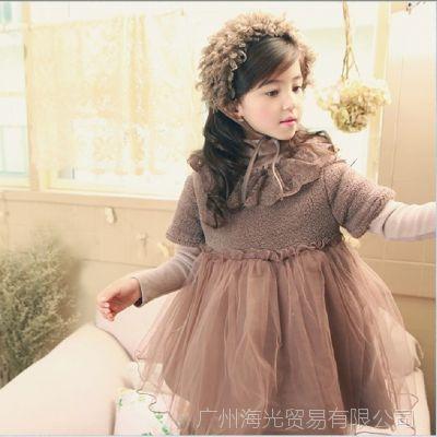 新款Kidsmac冬装加厚加厚保暖连衣裙花边领公主裙拼接纱裙HG12216
