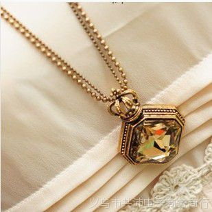 weiwei秀 香水瓶 皇冠方块多切面宝石双层长款项链 复古毛衣链