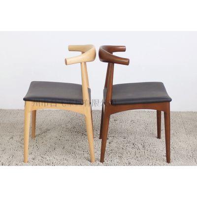 供应广州名飞KFT-09咖啡厅全实木水曲柳甜品店餐厅餐桌椅,牛角椅