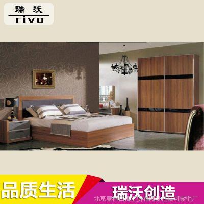 厂家生产 韩式家居高箱板式床 双人卧室板式床