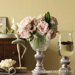 高档仿真花套装  西里艾圆形仿真玻璃花瓶花器烛台+3束手棒牡丹
