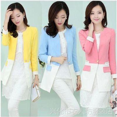 E8 厂家直销 韩版修身拼色小西装 女 无领长袖西服 女式 创意款