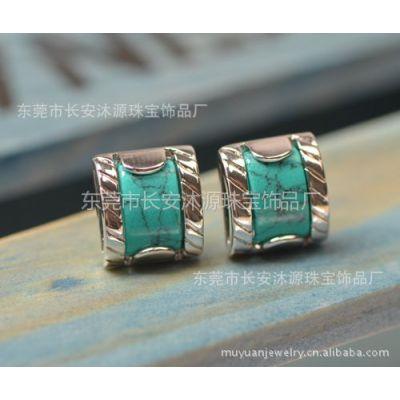 供应时尚方形绿松石耳钉耳环镀白金销售