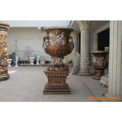 供应欧式古典花盆、树脂玻璃钢欧式田园风格仿古花盆、花瓶