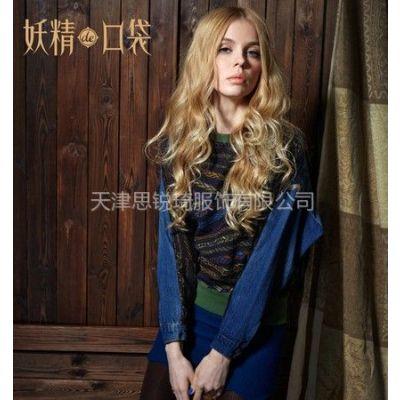 供应妖精的口袋【ELF SACK】爱情的形式~冬装复古刺绣牛仔衬衫