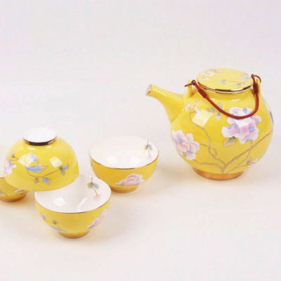 爱尚家唐山骨瓷 5头功夫茶具套装 手绘镶金帝王黄茶具 高端礼品