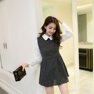 秋装新品2016韩版女装格子拼接假两件修身显瘦打底连衣裙一件代发