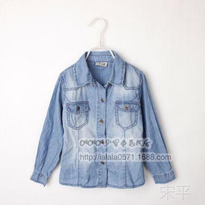 14年春秋款女童长袖牛仔衬衫 外贸童装批发 X2916