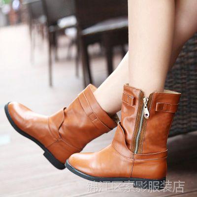 秋冬欧美真皮骑士靴 皮带扣平跟中筒靴 纯色圆头粗跟牛皮女靴