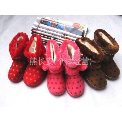 供应2011冬季新款儿童保暖鞋/棉鞋可爱圆点点双球男女儿童雪地靴批发