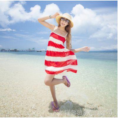 供应2014夏装新款 波西米亚抹胸 碎花吊带连衣裙