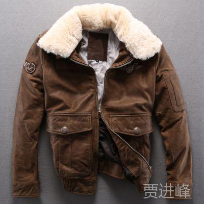 外贸原单冬季男外套批发男式欧美空军风飞行服夹棉皮夹克加厚皮衣