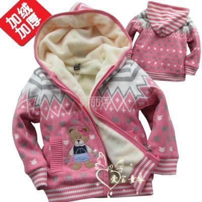 供应儿童毛衣批发 品牌童装批发 小童加绒毛衫 韩国小熊加绒外套