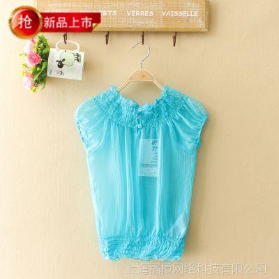 外贸原单 韩版女装雪纺衫 夏季新款短袖打底衫女式雪纺罩衫P24