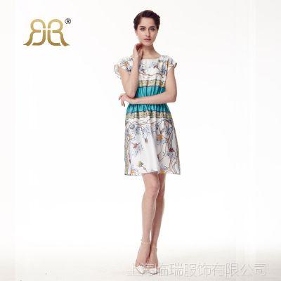 2015夏季新品印花女装 欧美气质仿真丝连衣裙 上海品牌高端女裙