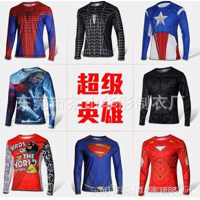 批发订做男式印花t恤 超级英雄 美国队长蜘蛛侠卡通动漫长袖t恤