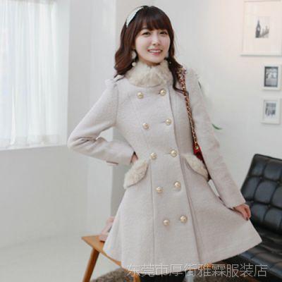 【镇厂之宝】2014韩国女装新款女大衣毛领双排扣毛呢大衣外套