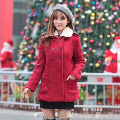 款冬款韩版呢料女装 双排扣短装呢子大衣外套 女 批发 红 灰