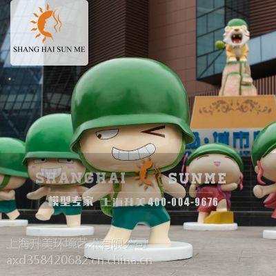 上海升美 士兵模型炮炮兵玻璃钢雕塑 美陈装饰摆件