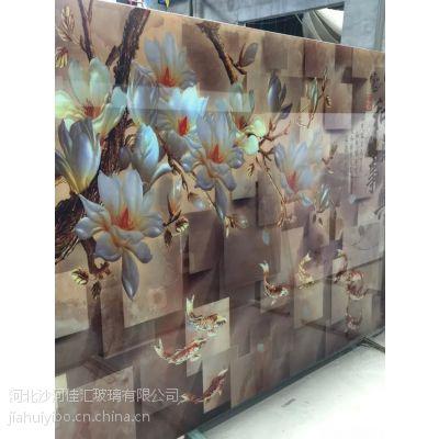 沙河佳汇厂家直销 电视背景墙玻璃 3D立体玻璃 山水风格艺术工艺玻璃