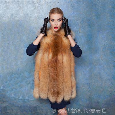外贸原单女装美国红狐整皮狐狸毛皮草女式背心马甲中长款皮草外套