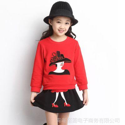 春季新款女童卫衣套装 上衣+裙子 两件套装绣花女孩套装厂家直销