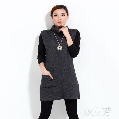 秋冬新品女中长款高领无袖带兜羊绒衫大款毛衣修身纯绒打底衫韩版