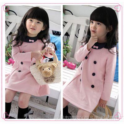 韩版童装 女童秋冬款中小童长袖加厚款双排扣娃娃领时尚连衣裙