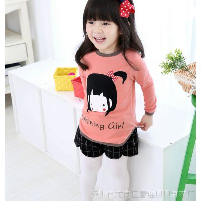 外贸韩版童装上衣 2015春款娃娃女孩打底衫 儿童长袖T恤卫衣