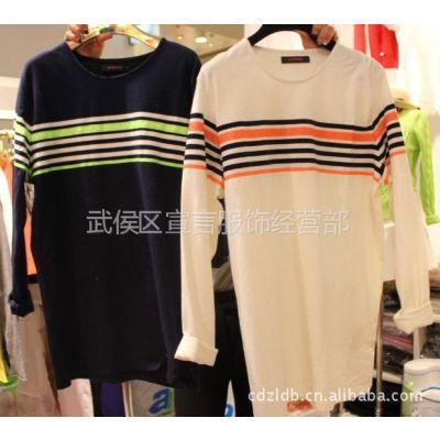 供应韩国正品服装批发女装新款 休闲条纹女式T恤长袖打底衫 2B24