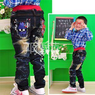 供应迪杰熊 品牌童装批发 韩版儿童牛仔裤长裤 男童裤子 5字绣花