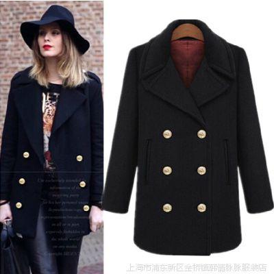 2015冬装新款女装  欧美双排扣修身大衣 翻领军装气质外套 女