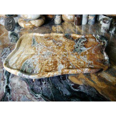 供应天然奇石,大理石,孔雀石多彩茶盘,纯手工打造,纯天然产品