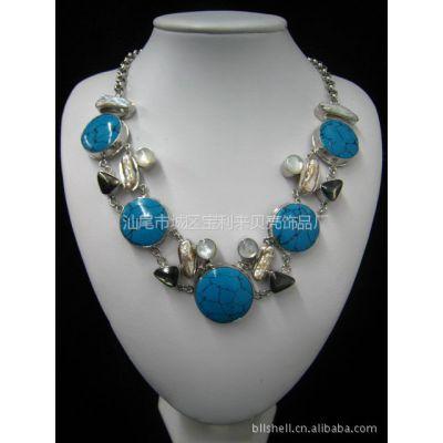 供应宝利来天然贝壳饰品  绿松石项链  欧美风格 毛衣链 高档珠宝项链