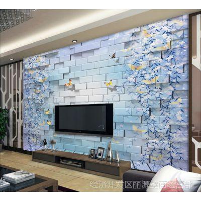 3d客厅电视背景墙壁纸定制 大型壁画风景 卧室墙纸 砖墙绿植