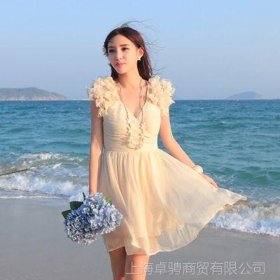 2014夏季新款连衣裙 v领波西米亚度假海边海滩短裙沙滩裙