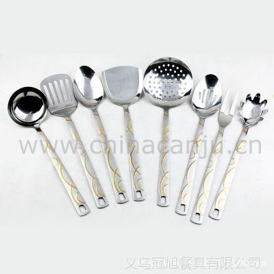 【厂家供应】交叉线厨具 锅铲 铲勺 不锈钢厨具套装 烹饪勺铲