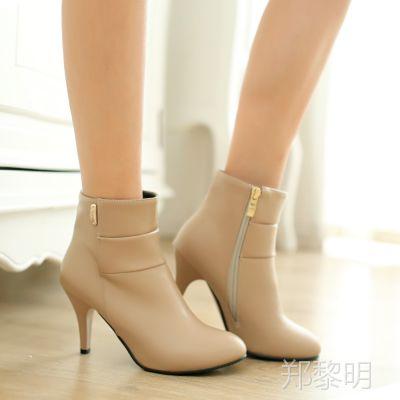 特价新款高跟中筒靴 大小码女靴 韩版马丁靴细高跟女靴HXN=284