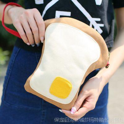 韩国ulzzang原宿软妹荷包蛋吐司手机零钱包帆布斜跨包单肩手提包