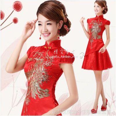 批发供应新款蕾丝旗袍 时尚婚礼红色敬酒  礼服  伴娘服
