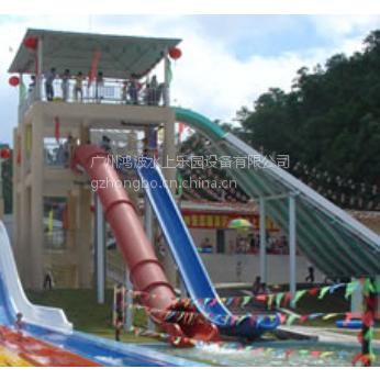 供应广州鸿波水上乐园设备炮筒雪撬双道组合滑梯滑梯