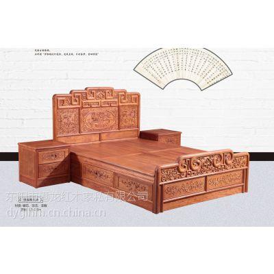 港龙红木 缅甸花梨木床 卧室成套家具 正宗大果紫檀1.8米双人床 东阳红木家具 古典中式
