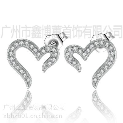 广州925银饰批发韩版心形耳环原创耳饰定制S925纯银耳环
