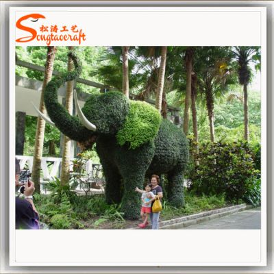 园艺大象绿雕 绿色草皮大象雕塑 园艺动物 广东厂家小区绿化工程