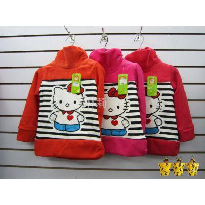 供应韩版 Kitty猫图案 高领童装 加绒厚款打底衫 3色入