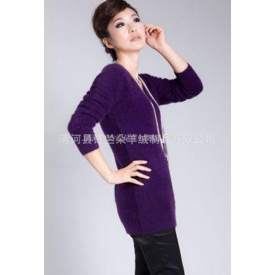 供应2012新款V领中长款羊绒衫 毛衣外套女韩版 套头毛衣打底衫女长袖