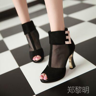 夏季磨砂网面鱼嘴凉鞋防水台粗高跟女鞋包跟拉链大码鞋NMR=N2015