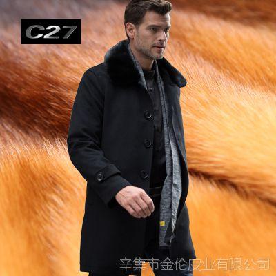 海宁黄金貂水貂内胆尼克服男士皮衣皮草貂皮大衣男装外套