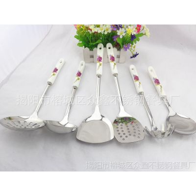 陶瓷不锈钢厨房用品 玫瑰不锈钢餐具不锈钢厨具套装 厨具礼品批发